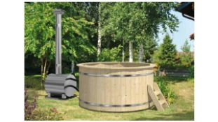 + VAT Brand New Spruce 180cm Wooden Hot Tub - External Heater - 105cm Tall - 180cm Diameter - 42mm