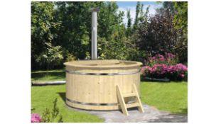 + VAT Brand New Spruce Wooden Hot Tub - 105cm Tall - 42mm Thickness - Internal Heater - 250kg -