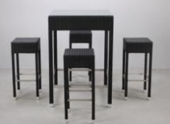 + VAT Brand New Chelsea Garden Company Brown Rattan Four Person Bar Stool And Table Set - Item Is