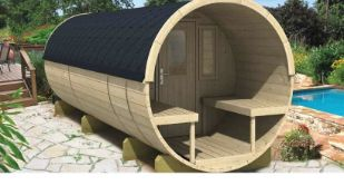 + VAT Brand New Camping Barrel 480 - 230 x 480 - Glass Window Door - Single Rear Window - Pallet