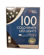 + VAT Brand New Box Of 100 Cold White LED Lights - Approx 8m Length -