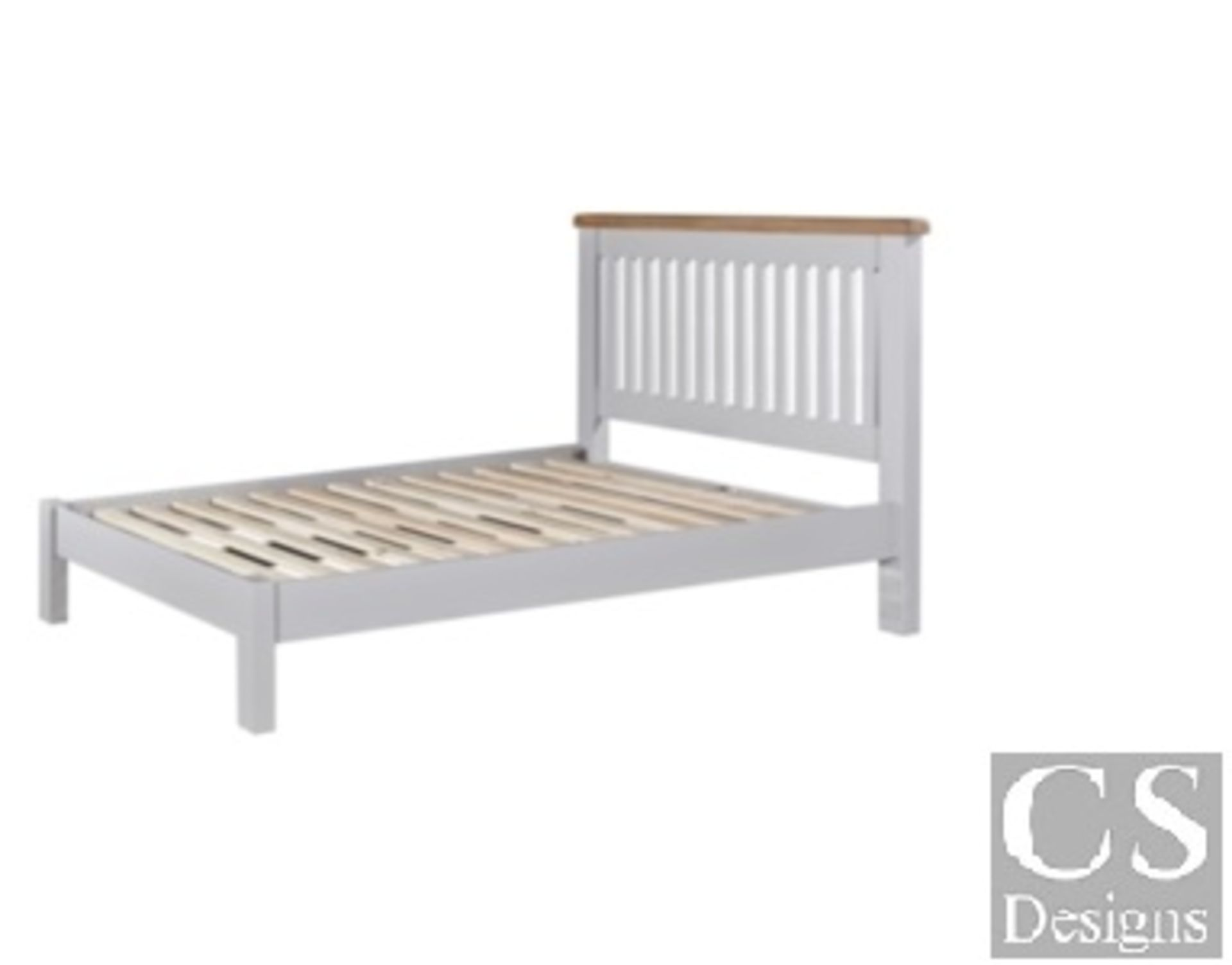 """+ VAT Brand New CS Designs """"Daylesford"""" Double Bed Frame With Natural Oak & Solid Hardwood Painted - Image 3 of 3"""