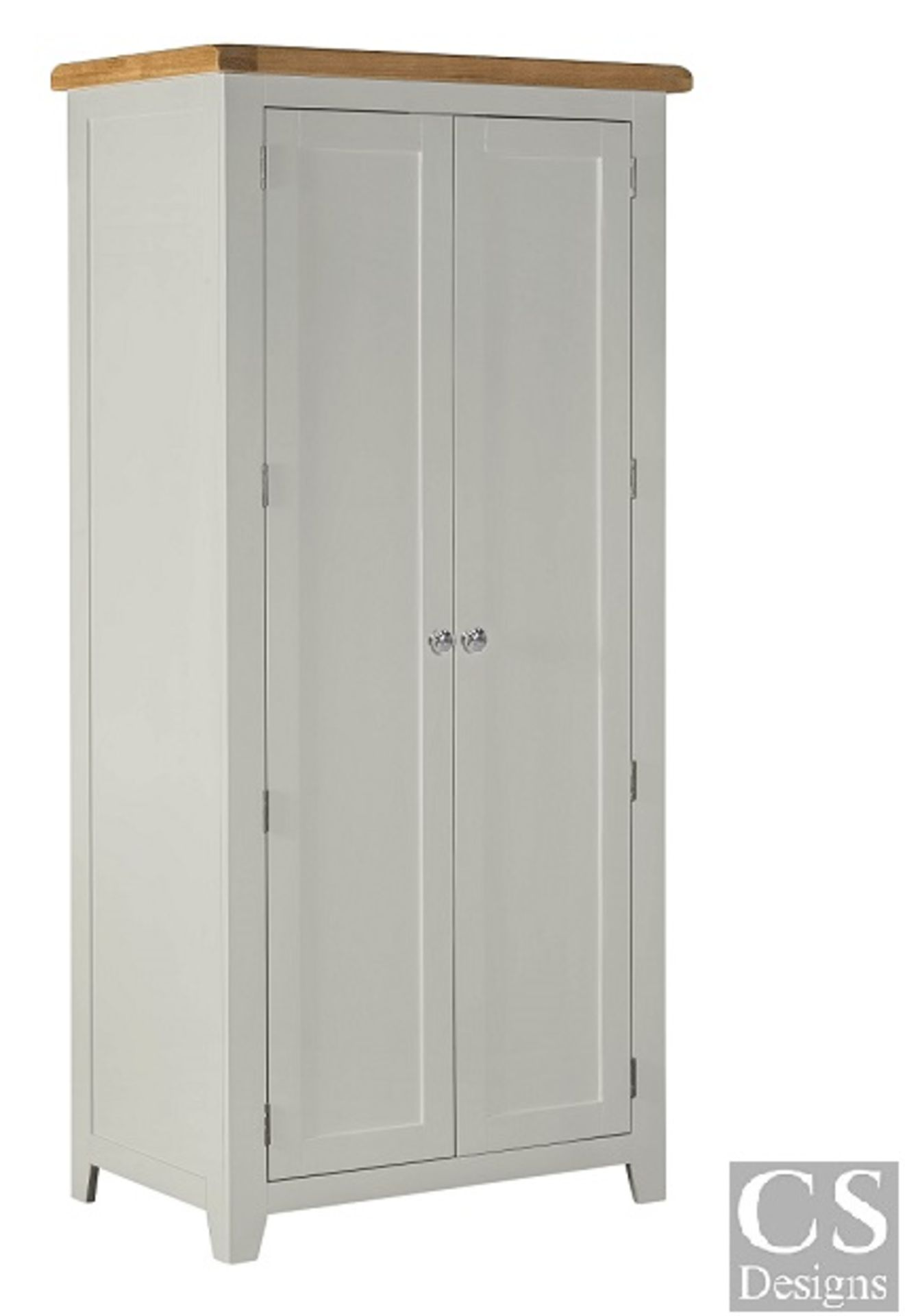 """+ VAT Brand New CS Designs """"Daylesford"""" Single Wardrobe With Natural Oak Tops With Solid Hardwood"""
