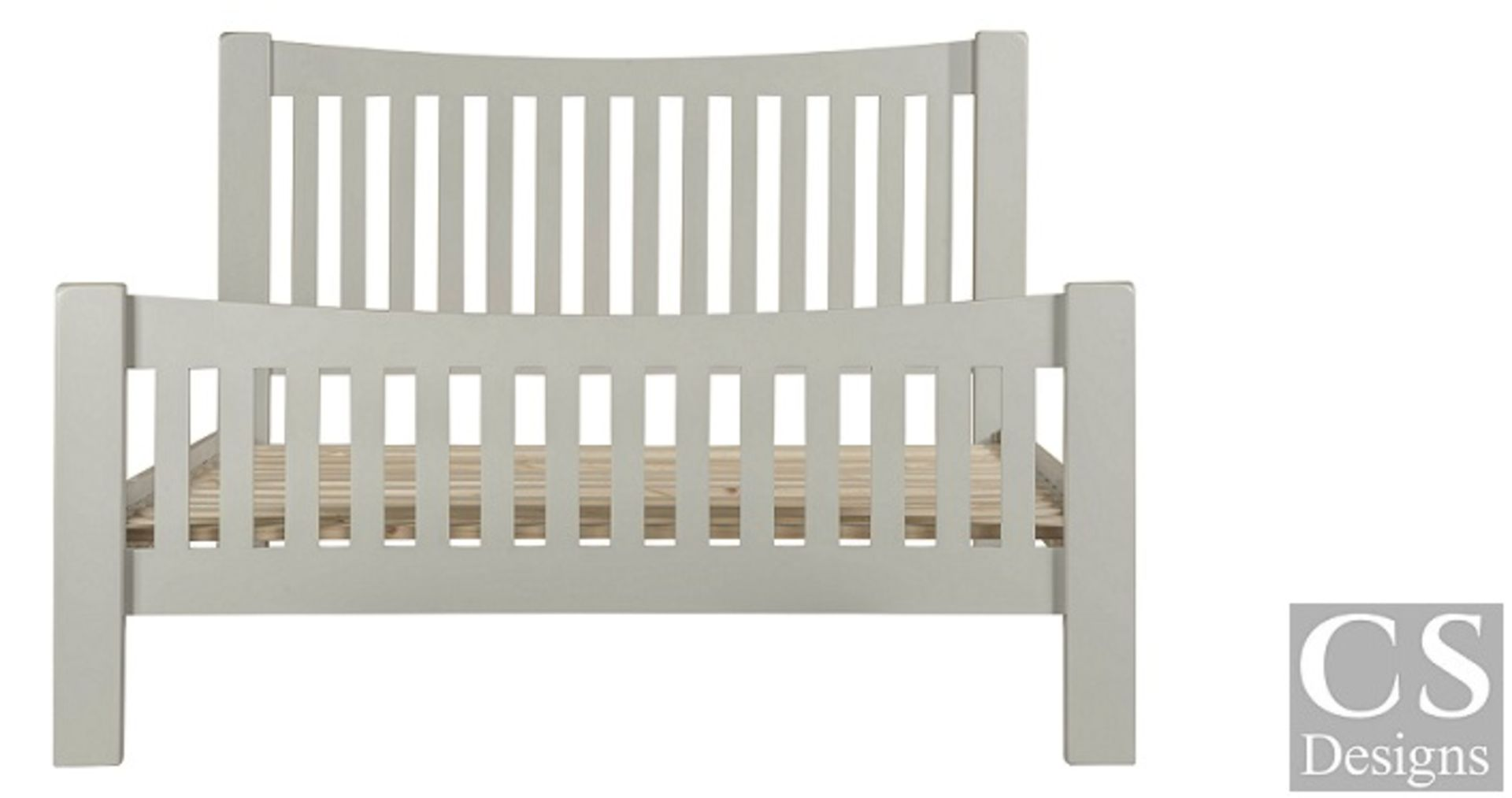 """+ VAT Brand New CS Designs """"Daylesford"""" Double Bed Frame With Natural Oak & Solid Hardwood Painted - Image 2 of 3"""