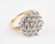 + VAT Brand New Yellow & White Gold 0.5ct Diamond Cluster Ring Set With 19 Diamonds