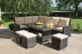 + VAT Brand New Chelsea Garden Company 8-Seater Brown Rattan Corner Dining Set With Ivory