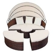 + VAT Brand New Chelsea Garden Company Brown Rattan Day Bed & Table Set - Item Is Available From