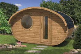 + VAT Brand New Hobbit House - Spruce - 236 x 405 x 240cm - 28/42mm Thickness - Pallet Dimensions