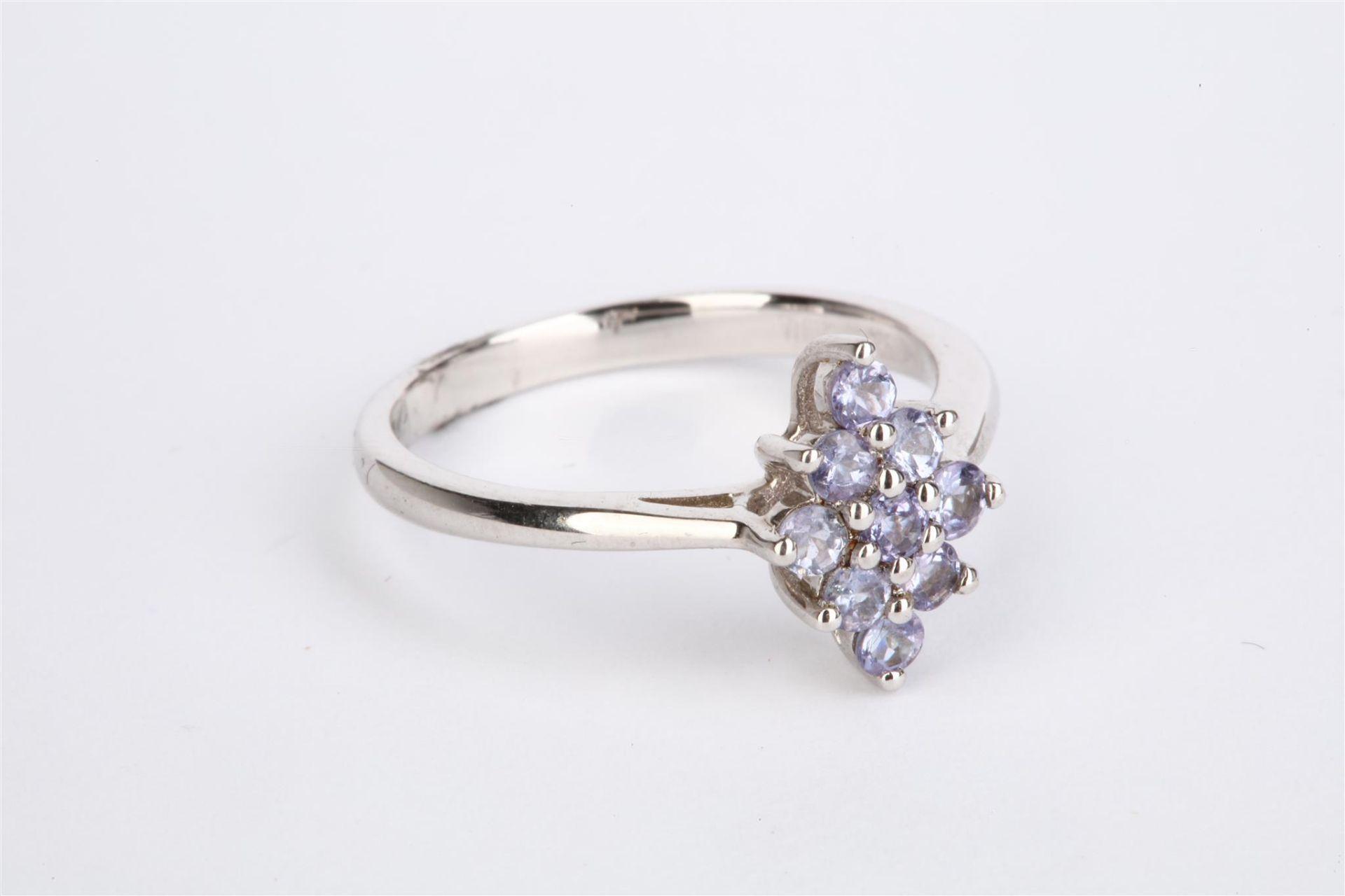+ VAT Ladies Silver Amethyst Diamond Shape Ring With 9 Stones