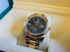 """No VAT Beautiful Gents Rolex Oyster Perpetual DateJust """"Wimbledon"""" S/S And Yellow Gold Watch -"""