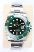 """No VAT Gents Rolex Oyster Perpetual Date Submariner """"Hulk"""" Watch - Comes With Inner And Outer Boxes"""