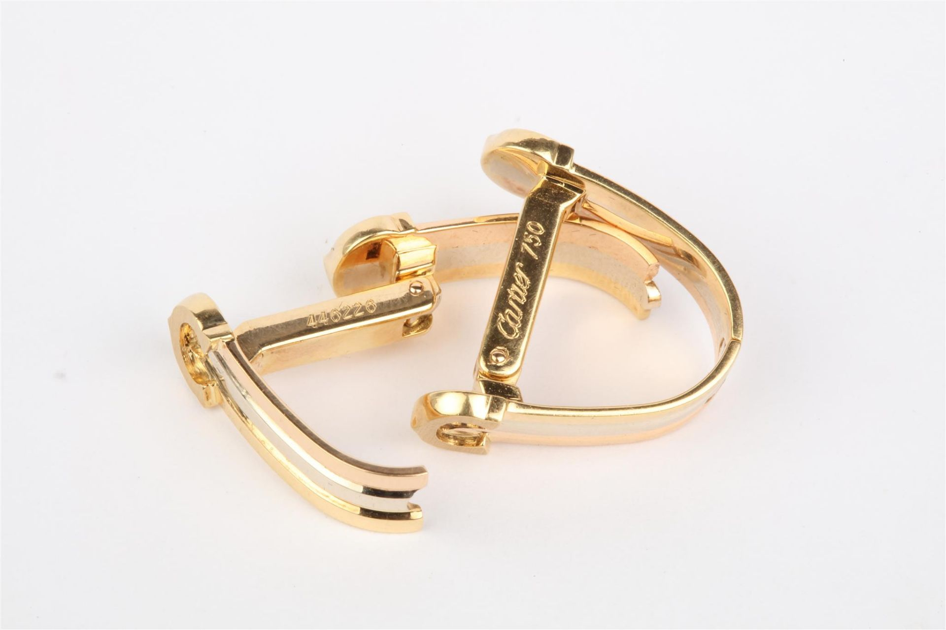 No VAT Pair Ladies Cartier 18ct Gold Trinity Clip On Earrings With 18ct White Gold - 18ct Yellow