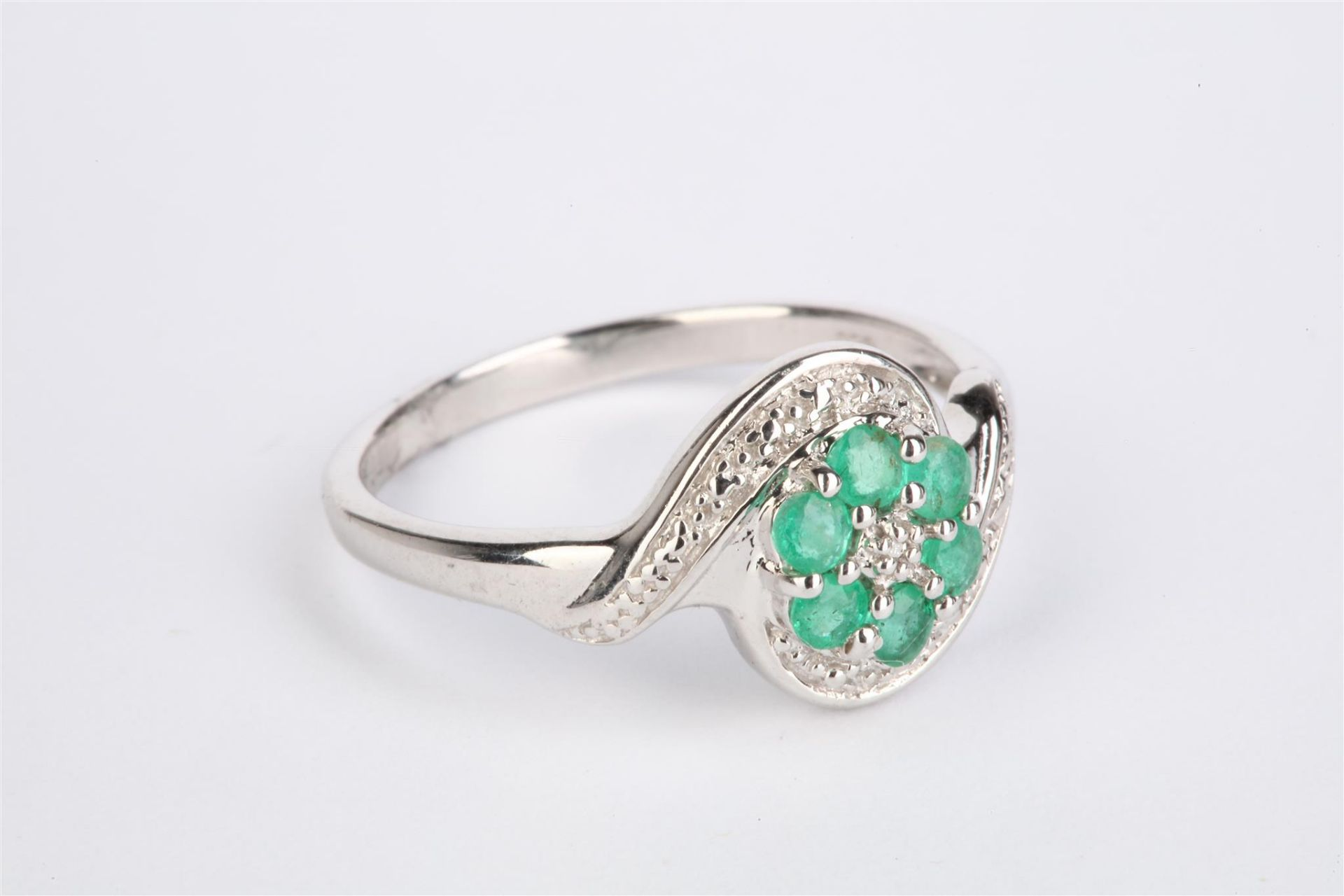 + VAT Ladies Silver Amethyst And Diamond Ring