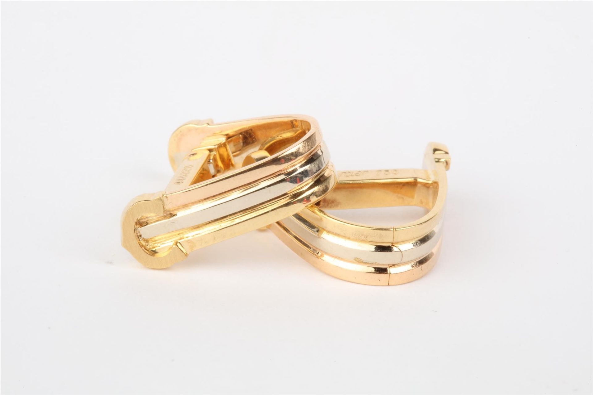No VAT Pair Ladies Cartier 18ct Gold Trinity Clip On Earrings With 18ct White Gold - 18ct Yellow - Image 2 of 2