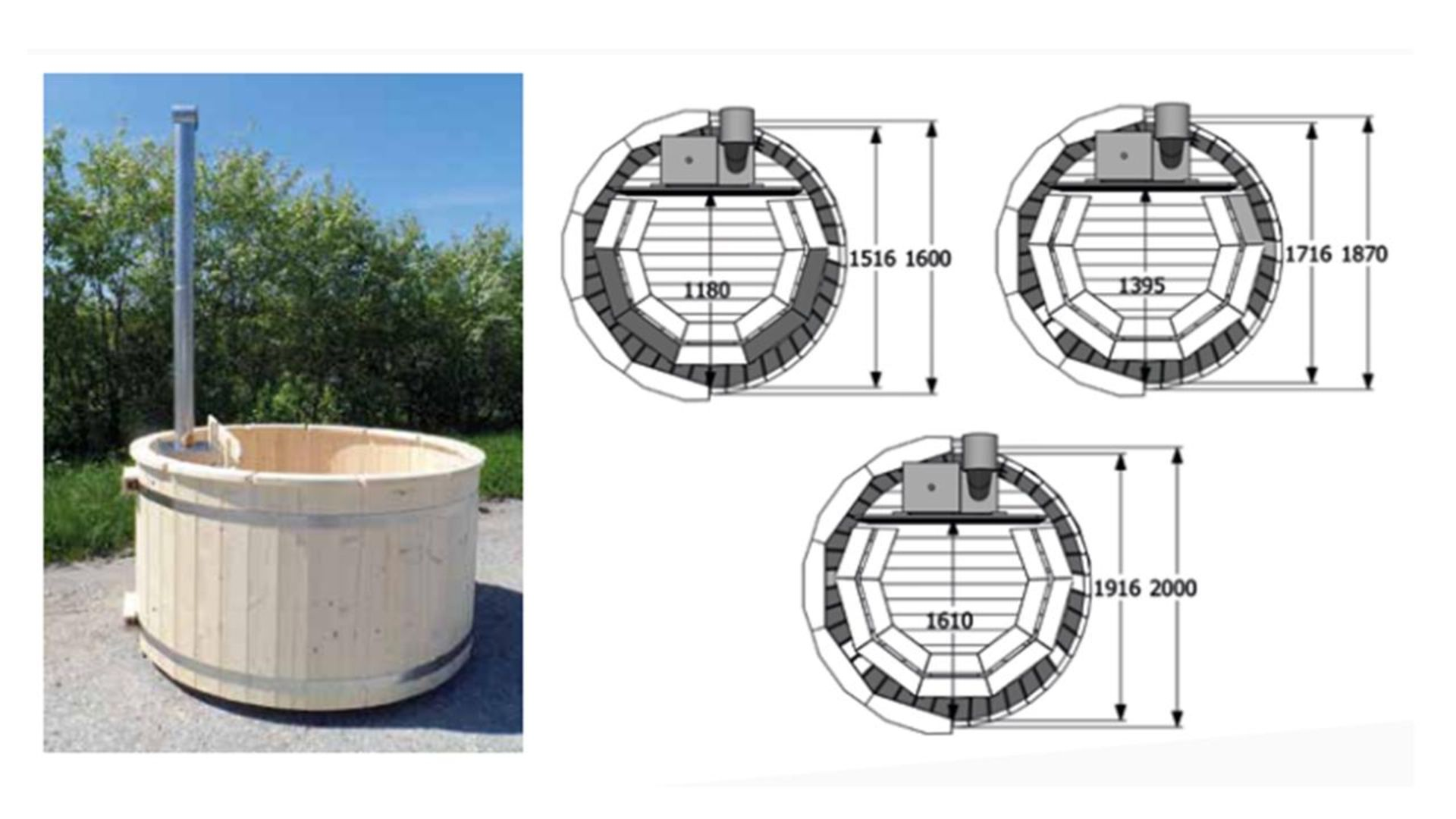+ VAT Brand New Spruce Wooden Hot Tub- 4/6 Person - 105cm Tall - 42mm Thickness - Internal Heater - - Image 2 of 2