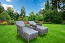 + VAT Brand New Chelsea Garden Company 2 Grey Reclining Sofa Chairs + Footstools And Glass Top