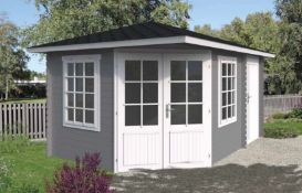 + VAT Brand New 13.2m Sq Spruce Cassandra Corner Cabin - 28mm Thickness - 267 x 440 x 300 - Pallet
