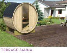 + VAT Brand New Terrace Sauna 28/42mm Timber - 205 x 205 x 160 - Pallet Dimensions 200 x 120 x 85cm