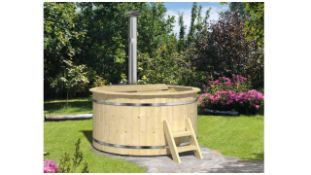 + VAT Brand New Spruce Wooden Hot Tub- 4/6 Person - 105cm Tall - 42mm Thickness - Internal Heater -