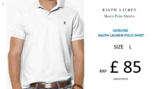 + VAT Brand New Ralph Lauren Custom-Fit Small Pony Polo Shirt - White - Size L - Ribbed Polo Collar