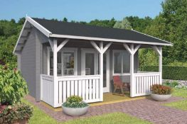+ VAT Brand New 25m Sq Spruce Caroline Garden House - 50mm Thickness - 322 x 520 x 520cm - Pallet