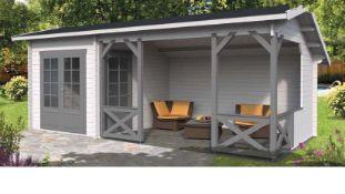+ VAT Brand New 21.3m Sq Spruce Carol Grill Cabin - 40mm Thickness - 282 x 667 x 320cm - Pallet