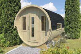 + VAT Brand New Camping Barrel Royal 446 - Spruce - 235 x 446cm - Glass Windowed Door - Rear Window