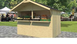 + VAT Brand New 6.00m Sq Spruce Kiosk 3 x 2 - 254 x 300 x 203cm - 16mm Thickness -