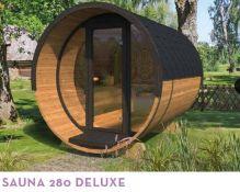 + VAT Brand New Sauna 280 Deluxe 28/42mm Timber - 235 x 235 x 280cm - Pallet Dimensions 280 x 120 x
