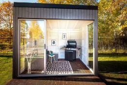 + VAT Brand New Fantastic 3m x 3m Garden Cube With Triple Sliding Glass Doors- Full Floor To