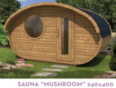 + VAT Brand New Sauna Mushroom - 28/42mm Timber - 235 x 400 x 240cm - Pallet Dimensions 400 x 120 x