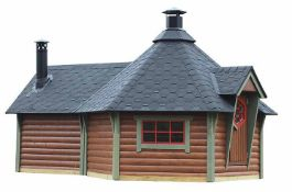 + VAT Brand New 9.00m Sq x 4.00m Sq Spruce BBQ Hut - 297 x 376 x 545cm - 45mm Thickness - Pallet