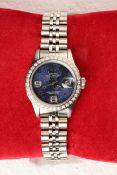 + VAT Ladies Rolex DateJust Watch With Diamond Surround Bezel - Stainless Steel Strap