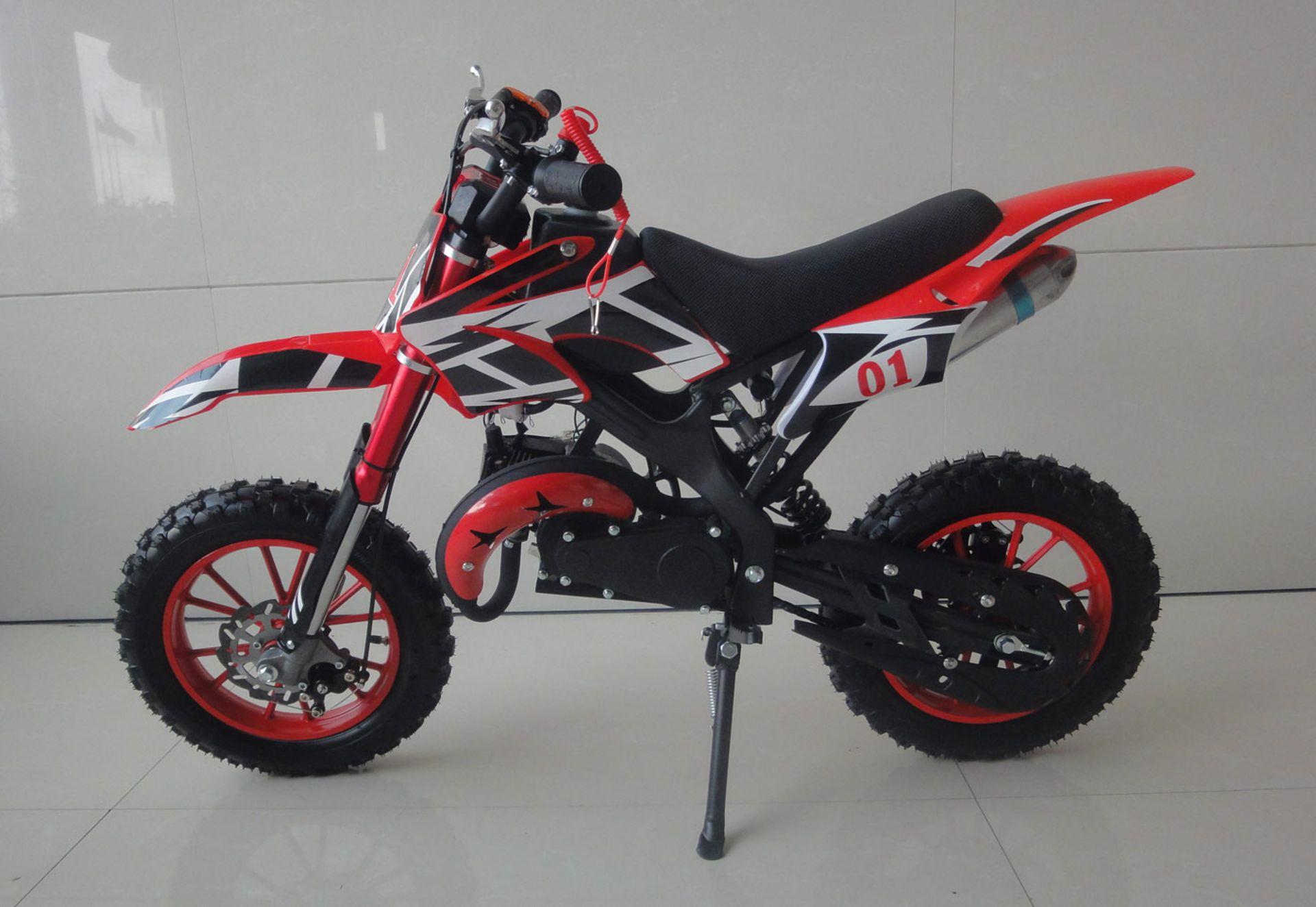 + VAT Brand New 49cc Falcon Mini Dirt Bike - Full Front & Rear Suspension - Disc Brakes - Easy Pull - Image 4 of 6