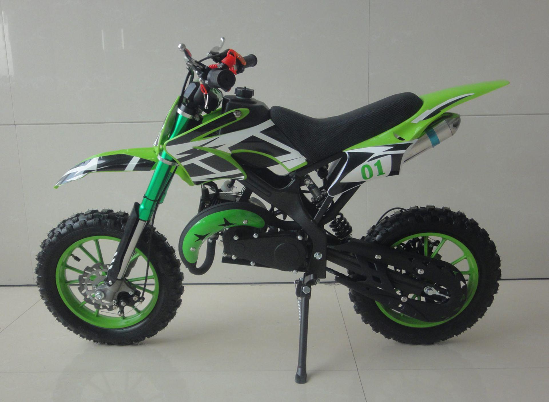 + VAT Brand New 49cc Falcon Mini Dirt Bike - Full Front & Rear Suspension - Disc Brakes - Easy Pull - Image 2 of 6