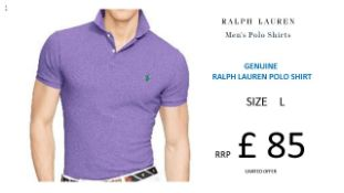 + VAT Brand New Ralph Lauren Custom-Fit Small Pony Polo Shirt - Spring Lilac Size L - Ribbed Polo