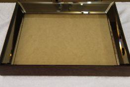 + VAT Dark Wooden Frame Bevelled Edge Mirror Picture Frame - 83.5 x 73.5 x 9.2cm