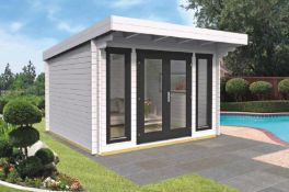+ VAT Brand New 10.50m Sq Spruce Corby Garden House - 40mm Thickness - 245 x 360 x 330cm - Pallet