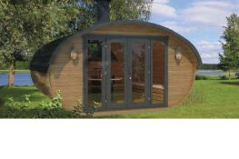 + VAT Brand New 16.00m Sq Spruce Grillhouse Relax - 235 x 400 x 400cm - 42mm Thickness - Pallet
