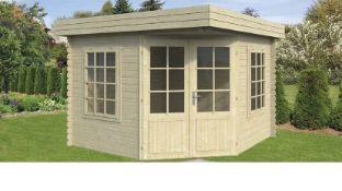 + VAT Brand New 9m Sq Spruce Claire Corner Cabin - 28mm Thickness - 230 x 300 x 300cm - Pallet