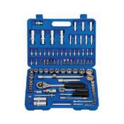 + VAT Brand New 108 Piece Chrome Vanadium Socket Set-1/4 & 1/2 Inch Drive-Spark Plug Sockets-Deep