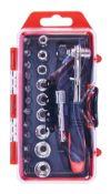 + VAT Brand New 23 Piece Offset Ratchet Drive Handle Socket Set
