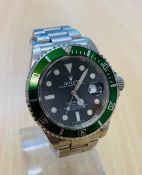 No VAT Gents 2008 Rolex Submariner Date - Stainless Steel - Green Bezel And Black Face - Watch And