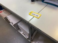 3x Treston 1.5m steel framed adjustable height work bench with white melamin (NO CONTENTS INCLUDED)