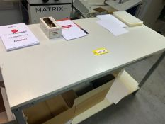 Treston 1.5m steel framed adjustable height work bench with white melamine (NO CONTENTS INCLUDED)