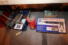BLUE BOX AND CONTENTS MISC. INC. TRIPOD AND PRESSURE GAUGE, BOX ELEC. CABLE AND FIRE EXTINGUISHER