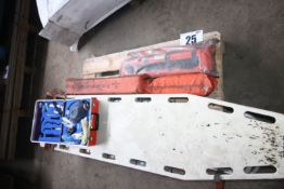 CONTENTS ON PALLET FIRST AID EQUIP. INC. 3 STRETCHERS, LEG AND ARM INFLATABLE IMMOBILIZERS ETC.