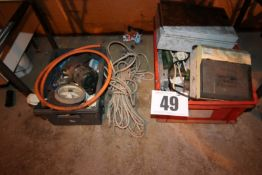 2 BOXES UNDER TABLE ELEC. FITTINGS, PIPE FITTINGS AND SASH CORD ETC.