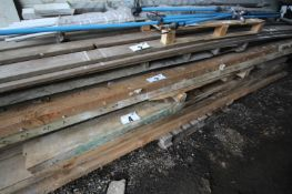 """CONTENTS ON BOTTOM OF SOFTWOOD TIMBER BEAMS, 9"""" x APPROXIMATELY 15'. FORKLIFT CHARGE £5"""