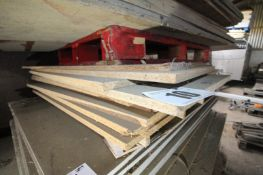 CONTENTS ON PALLET OF CHIPBOARD TIMBER SHEETING. FORKLIFT CHARGE £4